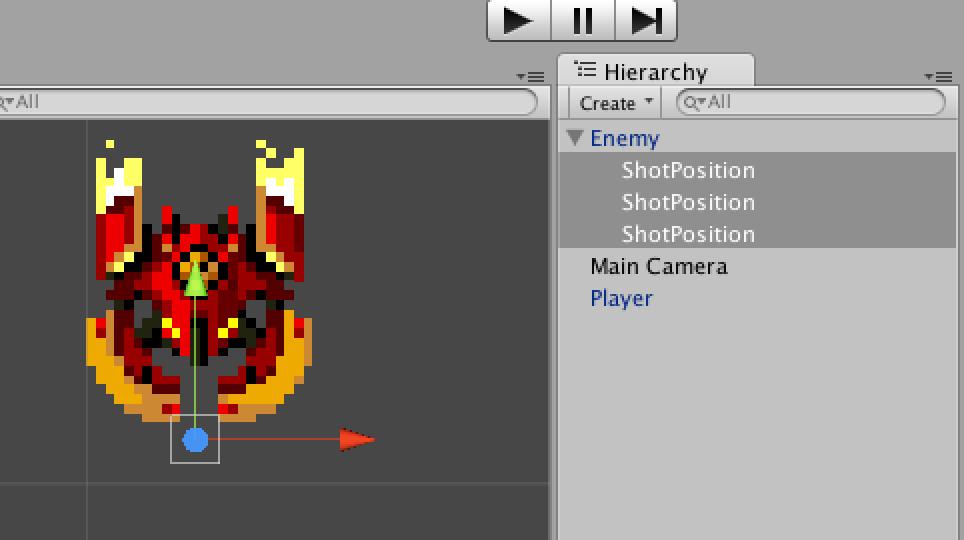 3つのShotPositionゲームオブジェクトは同じ位置