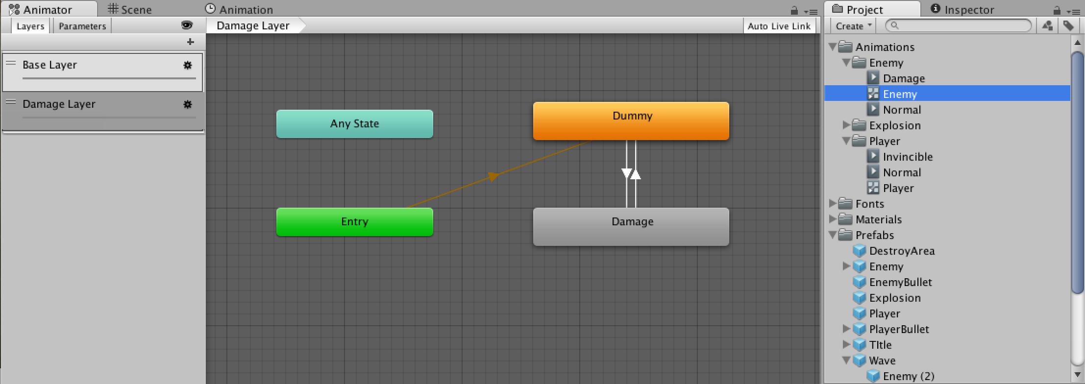 新しいレイヤーを作成し、ダメージを受けた時の表現を実装する(完成図)