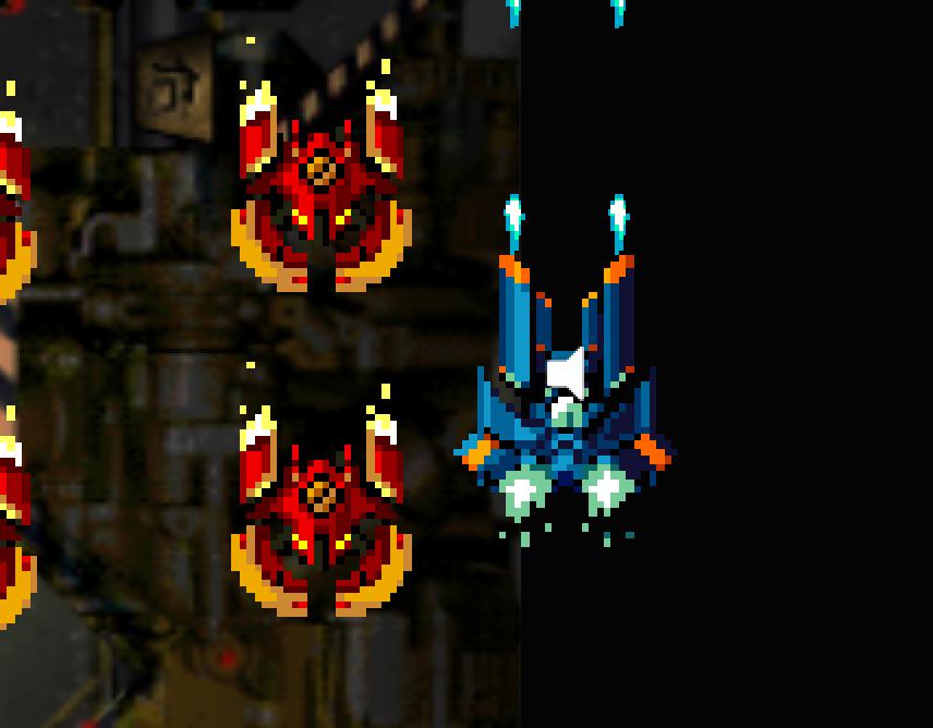 わかりづらいがプレイヤーの半分が黒帯の上に表示されている